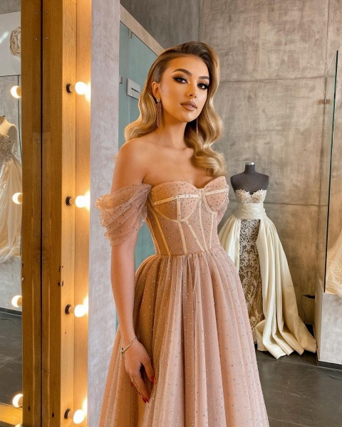 Chic Short A-line Off-the-shoulder Sparkly Tulle Prom Dress_1