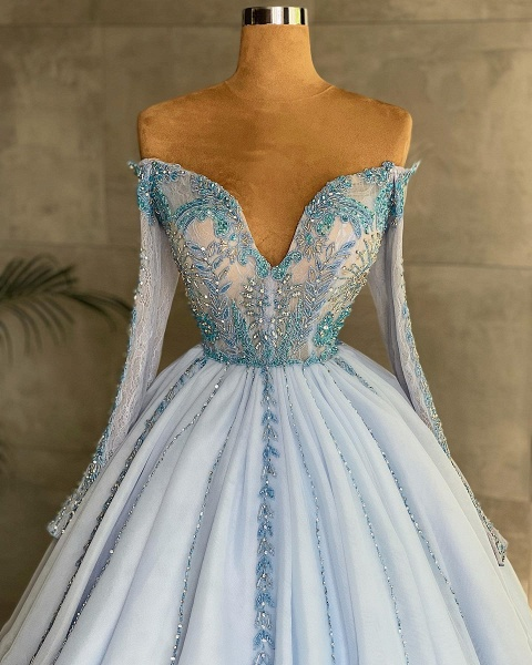 Princess Sweetheart Long Sleeves Tulle Formal Prom Dress_2