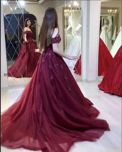 Modest Long A-line Off-the-shoulder Tulle Prom Dress_2