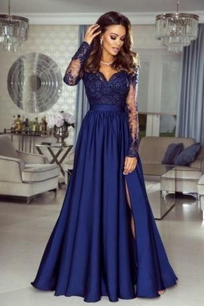 Elegant A-line Sweetheart Long Sleeves Lace Prom Dress with Slit