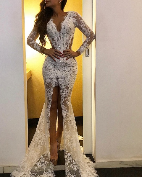 Simple Mermaid V-neck Lace Long Sleeves Formal Prom Dress with Slit_2