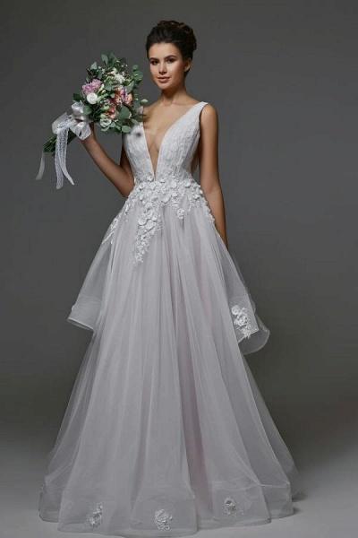 Beautiful Long A-line V-neck Tulle Backless Wedding dress