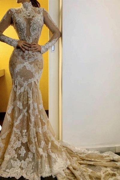 Modest Mermaid High-neck Long Sleeves Lace Open Back Wedding Dress