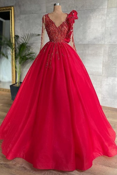 Beautiful Princess V-neck Long Sleeves Tulle Prom Dress