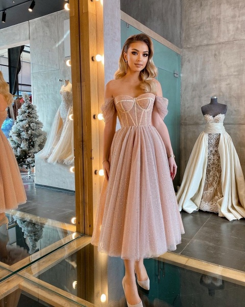 Chic Short A-line Off-the-shoulder Sparkly Tulle Prom Dress_6