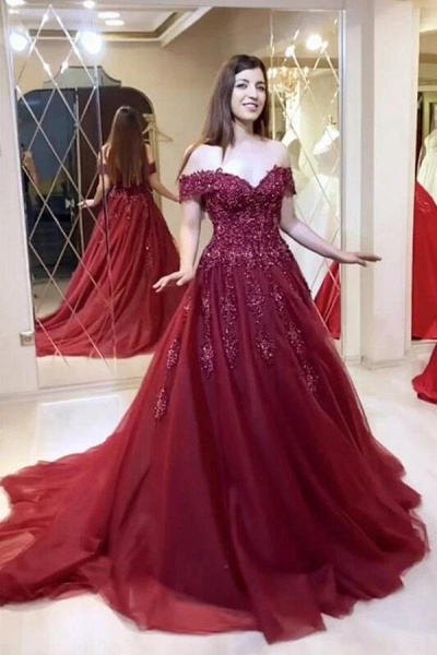 Modest Long A-line Off-the-shoulder Tulle Prom Dress