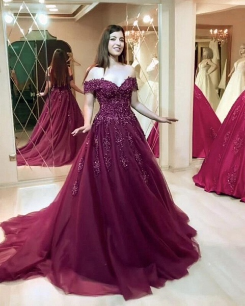 Modest Long A-line Off-the-shoulder Tulle Prom Dress_3