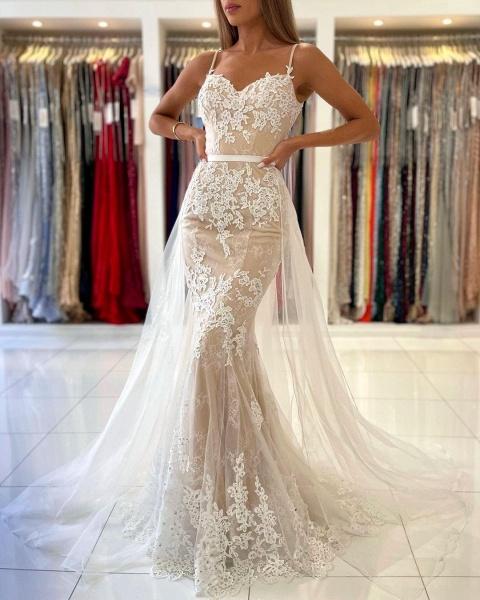 Beautiful Long Mermaid Sweetheart Spaghetti Straps Lace Prom Dress_3