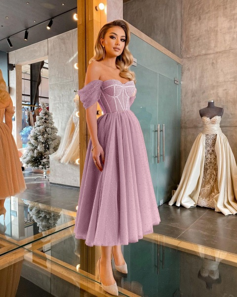 Chic Short A-line Off-the-shoulder Sparkly Tulle Prom Dress_2