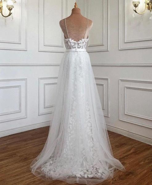 Elegant Long A-line V-neck Lace Open Back Prom Dress with Slit_2