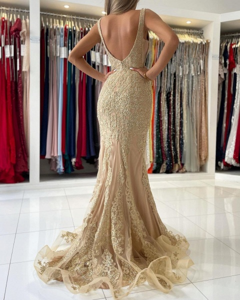 Long Mermaid Sweetheart Prom Dress with Floral Lace Appliques_5