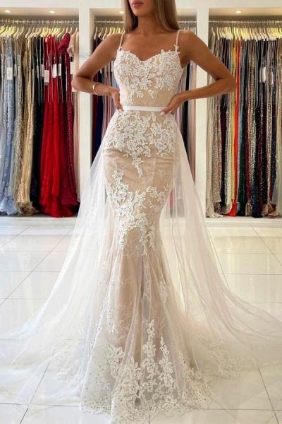 Beautiful Long Mermaid Sweetheart Spaghetti Straps Lace Prom Dress
