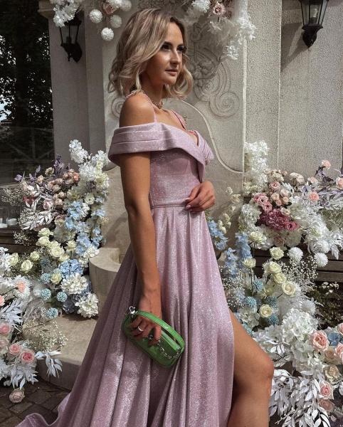 Elegant Long A-line Off-the-shoulder Glitter Prom Dress with Slit_2