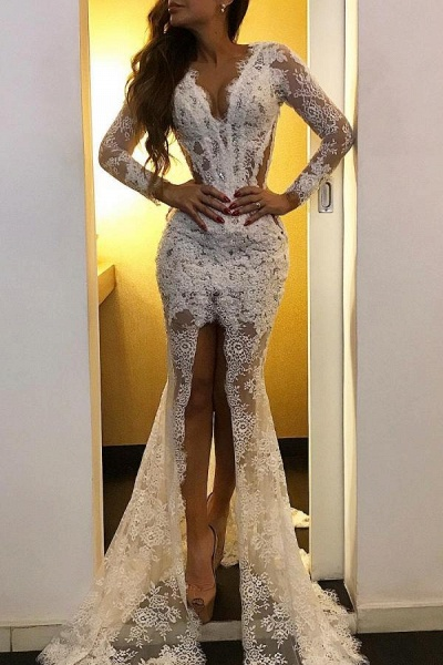 Simple Mermaid V-neck Lace Long Sleeves Formal Prom Dress with Slit
