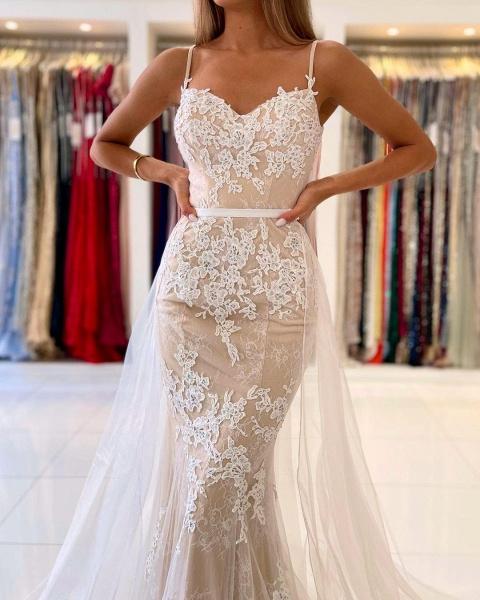 Beautiful Long Mermaid Sweetheart Spaghetti Straps Lace Prom Dress_5