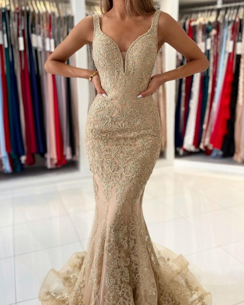 Long Mermaid Sweetheart Prom Dress with Floral Lace Appliques_3