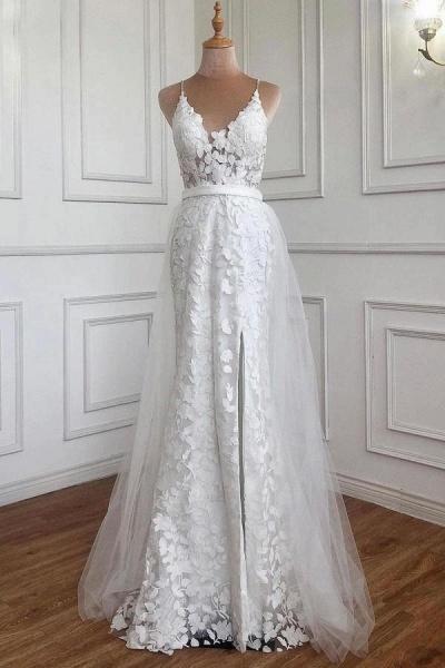 Elegant Long A-line V-neck Lace Open Back Prom Dress with Slit