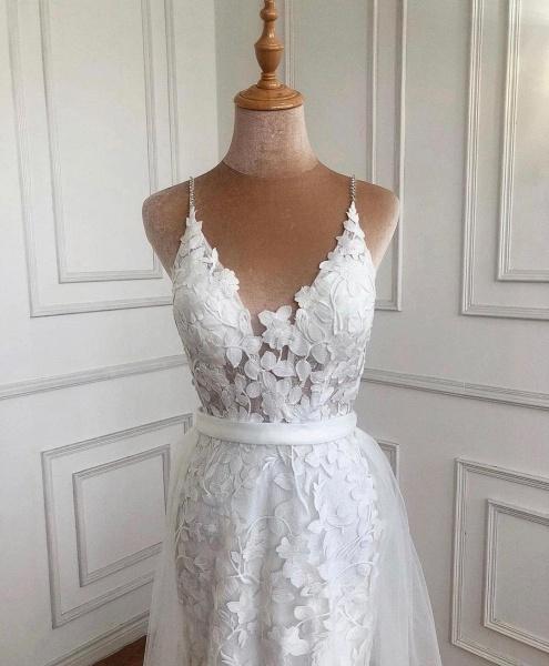 Elegant Long A-line V-neck Lace Open Back Prom Dress with Slit_3