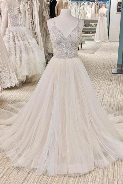 Beautiful Long A-line V-neck Glitter Backless Wedding Dress