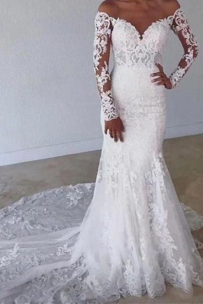 Elegant Long Mermaid Sweetheart Lace Wedding Dress with Sleeves