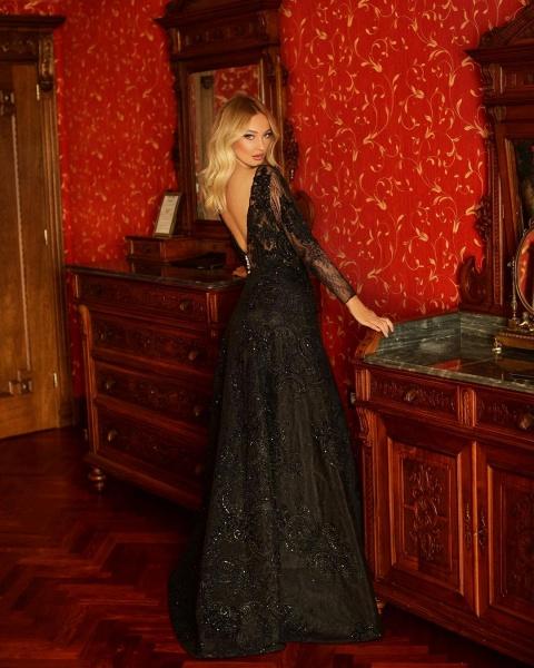 Elegant A-line V-neck Lace Long Sleeves Floor-length Prom Dress_2