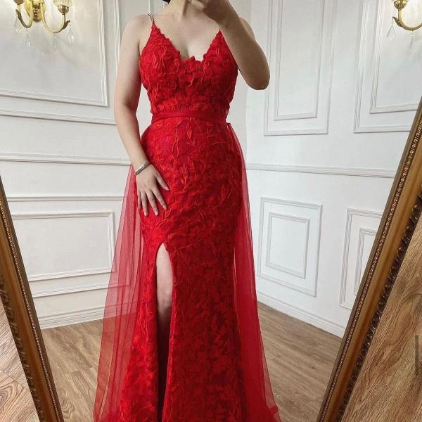 Elegant Long A-line V-neck Lace Open Back Prom Dress with Slit_5