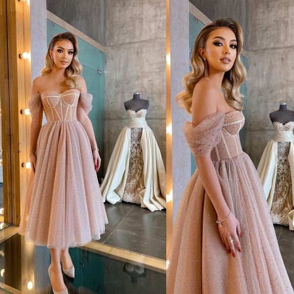 Chic Short A-line Off-the-shoulder Sparkly Tulle Prom Dress_4