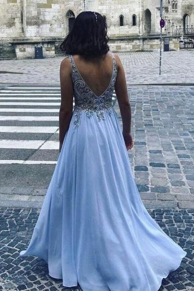 Beautiful Long A-line V-neck Chiffon Beading Backless Prom Dress_2