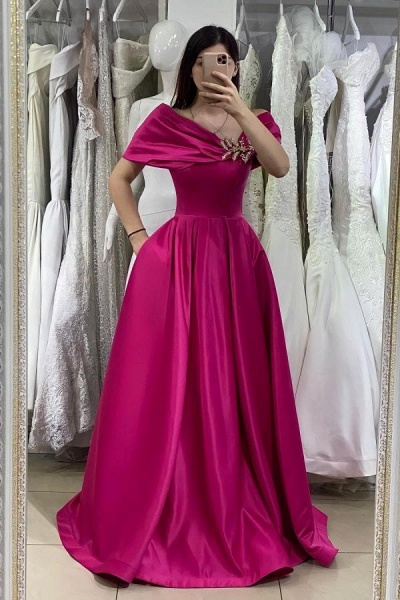 Unique Long A-line Off-the-shoulder Satin Prom Dress with Pockets