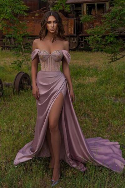 Elegant Long Mermaid Off-the-shoulder Satin Prom Dress with Slit