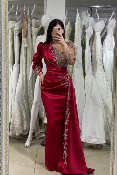 Elegant Long Mermaid Satin Floor Length Prom Dress with Sleeves