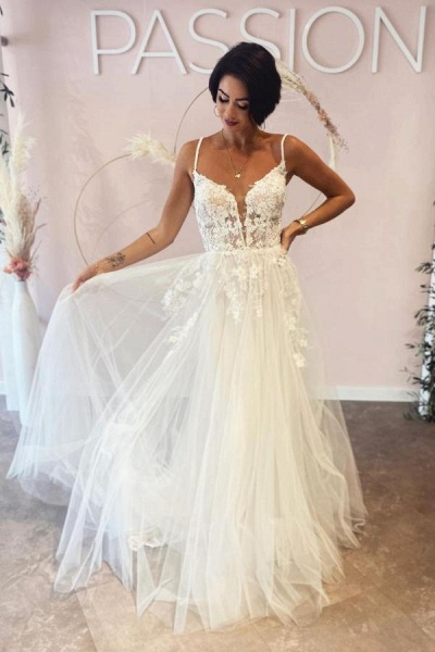 Long A-line Deep V-neck Tulle Spaghetti Straps Lace Backless Wedding Dress
