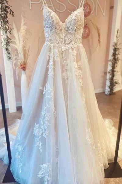 Gorgeous Long A-line V-neck Spaghetti Straps Tulle Backless Wedding Dress