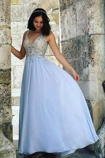 Beautiful Long A-line V-neck Chiffon Beading Backless Prom Dress