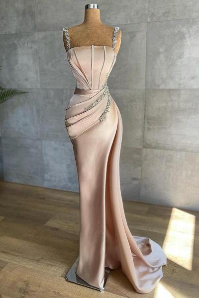 Sexy Long Mermaid Satin Silk Prom Dress with Deep Side Slit