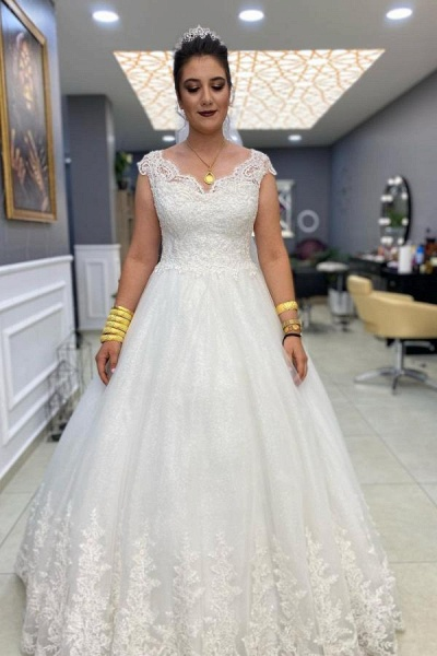 Simple Long A-line V-neck Lace Tulle Wedding Dress