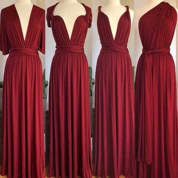 Convertible Long A-line Burgundy Bridesmaid Dresses   Multiway Infinity Dress_3