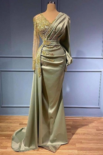 Long Mermaid Satin V-neck Beads Applique Formal Dress with Sleeves