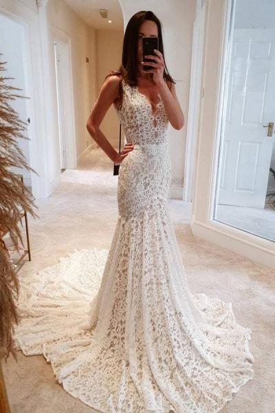 Modest Long Mermadi V-neck Open Back Lace Wedding Dress