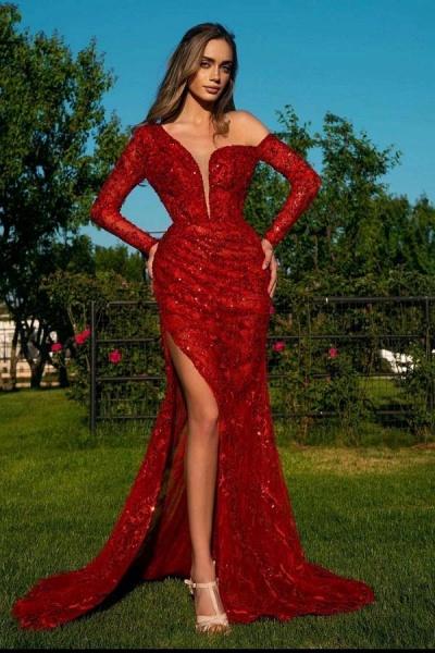 Elegant Mermaid Sequins V-neck Long Sleeves Prom Dress with Slit