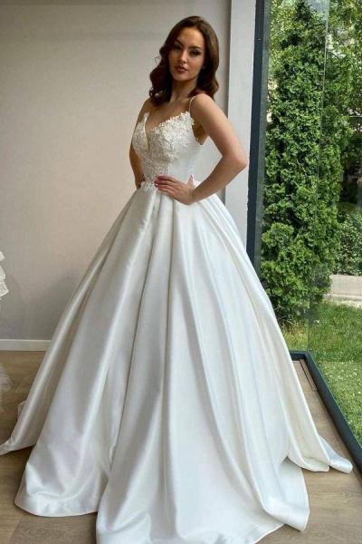 Elegant Long Ball Gowns Sweetheart Spaghetti Straps Satin Wedding Dress