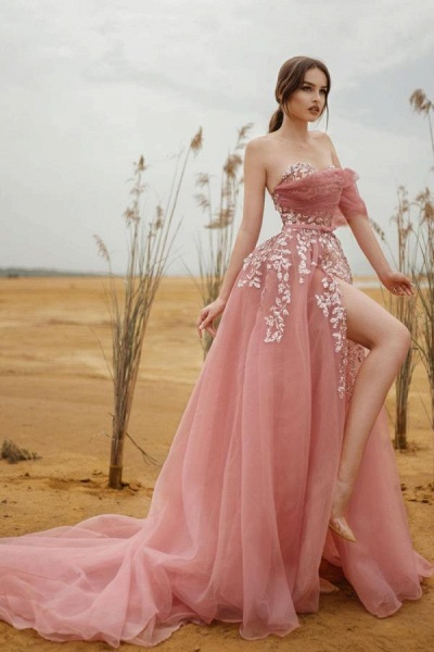 Modest Long A-line Strapless Tulle Lace Prom dress with Slit