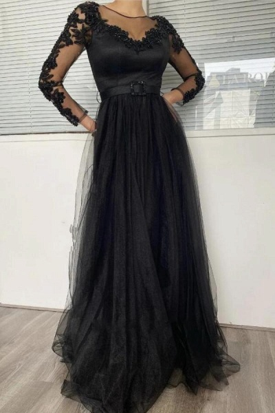 Classy Black A-line Long Sleeves Tulle Lace Prom Dress