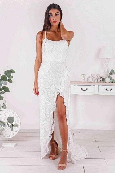 Simple Mermaid Strapless Spaghetti Straps Prom Dress with Slit