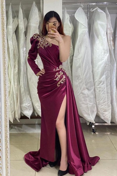 Unique Long Mermaid One Shoulder Side Slit Prom Dress with Sleeves