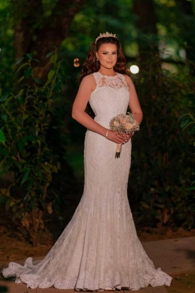 Beautiful Long Mermaid Tulle Lace Wedding Dress