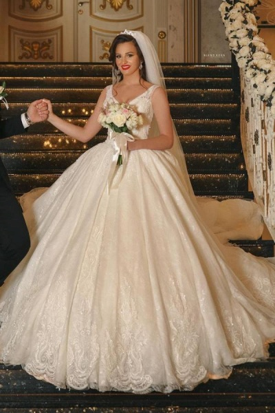 Glamorous Long Ball Gown V-neck Tulle Wedding Dress with Lace Appliques