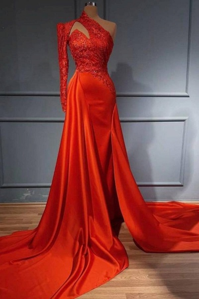 Elegant Long A-line One Shouder Stretch Satin Prom Dress with Sleeves