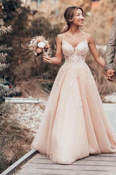 Romantic Long A-Line Spaghetti Straps Tulle Lace Wedding Dress