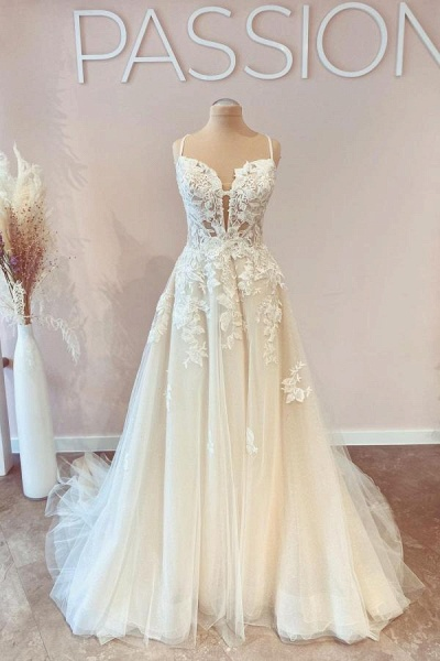 Modest Long A-line Spaghetti Straps Tulle Wedding Dress with Appliques Lace